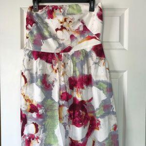 Banana republic floral strapless dress